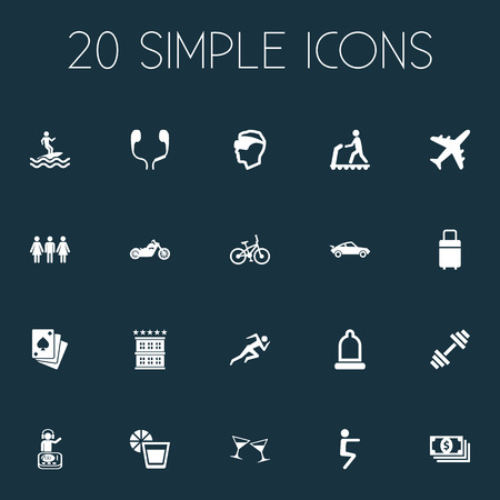 Vector Illustration Set Of Simple Yoga Icons. Elements Vintage Automobile, Weightlifting, Celebration And Other Synonyms Helmet, Baby And Motorbike. Illustration