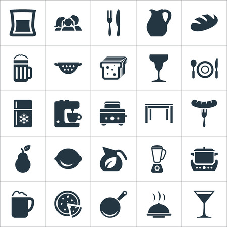 Vector Illustration Set Of Simple Gastronomy Icons. Elements Lime, Cocktail, Catering And Other Synonyms Skillet, Toaster And Bartlett. Illustration