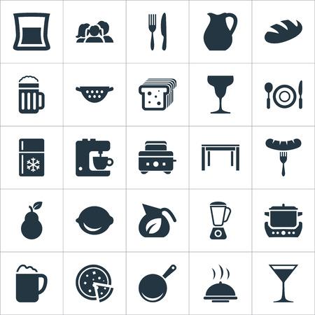 Vector illustratie Set van eenvoudige gastronomie iconen. Elementen limoen, cocktail, catering en andere synoniemenkillepan, broodrooster en Bartlett. Vector Illustratie