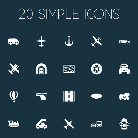 Vector Illustration Set Of Simple Shipment Icons. Elements Steam Train, Jet, Cement Machine And Other Synonyms Tuning, Aicraft And Transport. Illustration