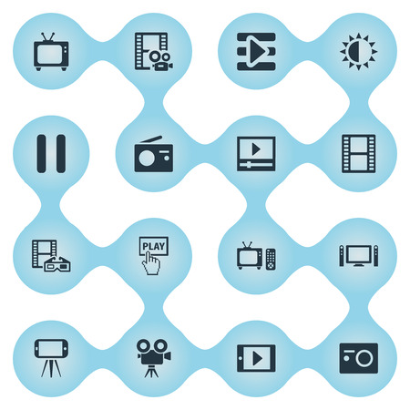 Vector illustratie Set van eenvoudige pictogrammen. Elements Smartphone, Stop, Movie Streaming en andere synoniemenknoppen, presentaties en televisie.