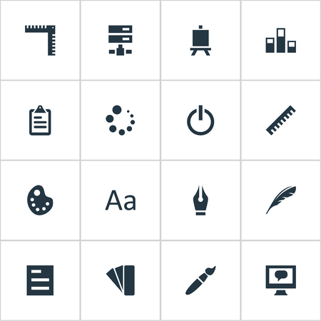 Vector Illustration Set Of Simple Icon Icons. Elements Loading, Letter, Easel And Other Synonyms Power, List And Artist. Ilustracja