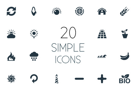 Vector Illustration Set Of Simple Ecology Icons. Elements Reuse, Negative, Fire And Other Synonyms Energy, Waves And Negative. Illusztráció