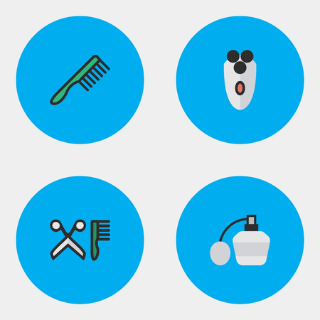 Vector Illustration Set Of Simple Hairdresser Icons. Elements Shaving Machine, Comb, Perfume And Other Synonyms Tool, Perfume And Shaver.