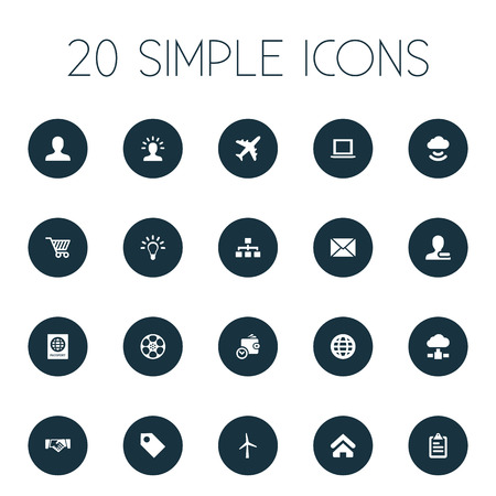 Vector Illustration Set Of Simple Business Icons. Elements Airplane, Globe, User And Other Synonyms Purse, Document And Tag.
