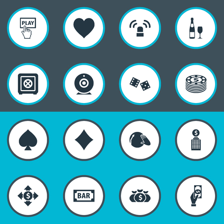 Vector Illustration Set Of Simple  Icons. Elements Gambling Cube, Video, Dollar Swap And Other Synonyms Bank, Protection And Champagne.
