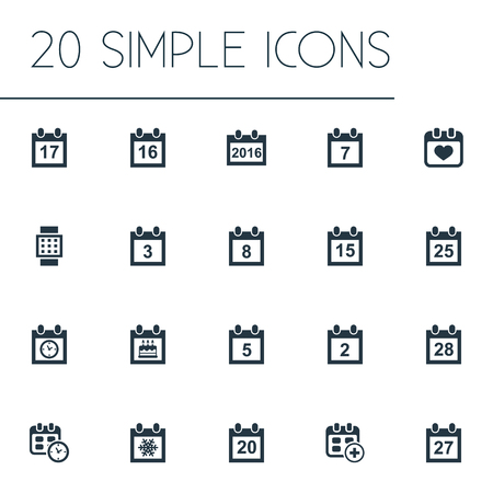 Vector Illustration Set Of Simple Calendar Icons. Elements Appointment, Rendezvous, Twentieth And Other Synonyms Winter, Organizer And History.