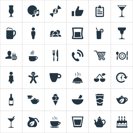 Vector Illustration Set Of Simple Cafe Icons. Elements Alcohol Serving, Margarita, Fork With Knife And Other Synonyms Teapot, Gingerbread And Call.