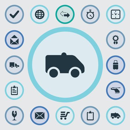 Vector illustratie Set van eenvoudige levering iconen. Elementen Klembord, Pushcart, Watch en andere synoniemen Stopwatch, Fragile en Reward.