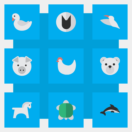Vector Illustration Set Of Simple Zoo Icons. Elements Piggy, Swan, Tomcat And Other Synonyms Rooster, Cock And Cat. Illustration