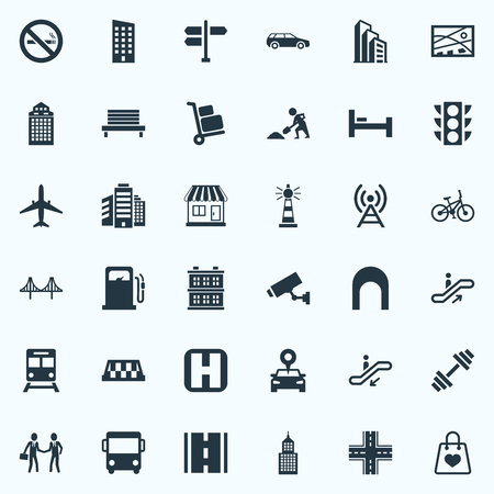 Vector Illustration Set Of Simple Architecture Icons. Elements Kiosk, Direction, Digging Worker And Other Synonyms Tower, Auto And Megapolis. Stock Vector - 84986008