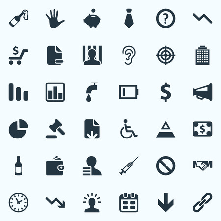 Vector Illustration Set Of Simple Situation Icons. Elements Piggy Bank, Deal, Down Cursor And Other Synonyms Analytics, Watch And Arrow.