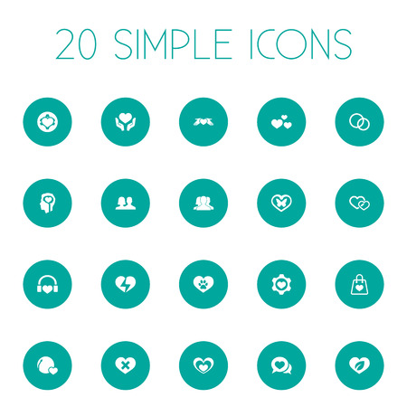 Vector Illustration Set Of Simple Valentine Icons. Elements Vetirinary, Setting, Lovers And Other Synonyms Emotion, Music And Heartbreak.
