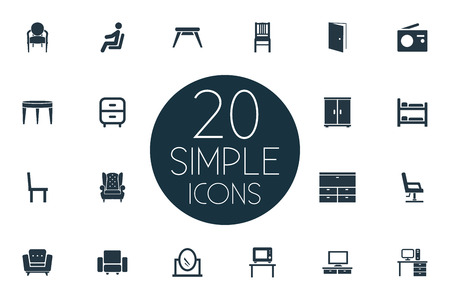 Vector Illustration Set Of Simple Furniture Icons. Elements Locker, Elegant Style, Bedroom And Other Synonyms Transmission, Looking-Glass And Stool.