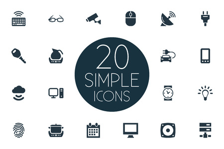 Vector Illustration Set Of Simple Web Icons. Elements Bulb, Teapot, Desktop And Other Synonyms Cloud, Teapot And Thumbprint. Çizim