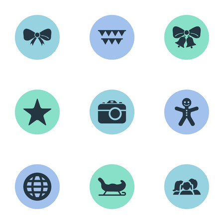 Vector Illustration Set Of Simple New Year Icons. Elements Worldwide Delivery, Bunting, Sledge And Other Synonyms Sleigh, Gingerbread And Planet.