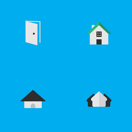 Vector Illustration Set Of Simple Estate Icons. Elements Base, Home, Entry And Other Synonyms Door, Entry And Home.