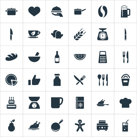 Vector Illustration Set Of Simple Preparation Icons. Elements Wine, Cup, Organic Fruits And Other Synonyms Hen, Cookware And Haute.