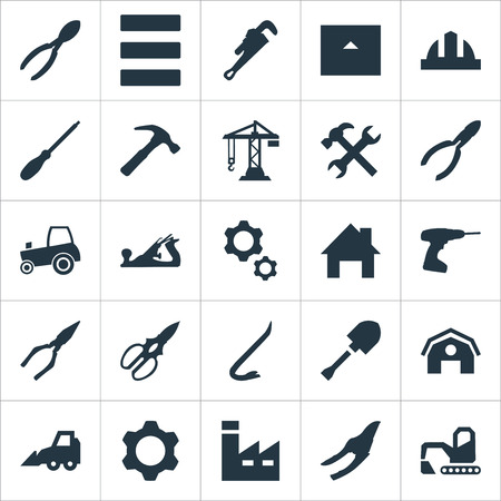 Vector Illustration Set Of Simple Architecture Icons. Elements Construction, Mechanic Key, Excavator And Other Synonyms Barn, Mallet And Home.