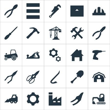 Vectorillustratiereeks Eenvoudige Architectuurpictogrammen. Elementen constructie, mechanische sleutel, graafmachine en andere synoniemen schuur, hamer en thuis.