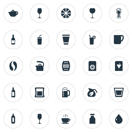 Vector Illustration Set Of Simple Beverage Icons. Elements Wineglass, Pub, Tumbler And Other Synonyms Citrus, Cappuchino And Beverage.