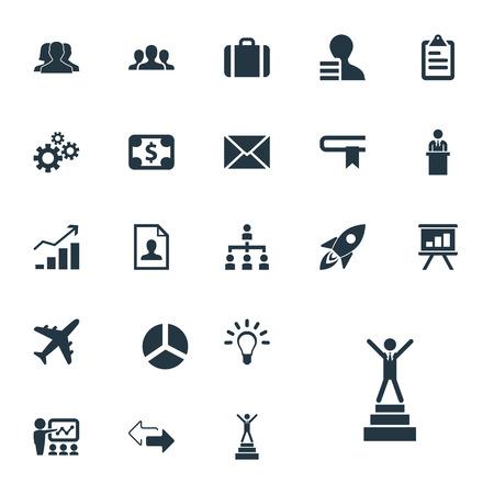 벡터 일러스트 레이 션 간단한 계획 아이콘의 집합입니다. 요소 통신, 통화, 상승 및 기타 동의어 개인, 이력서 및 구조.
