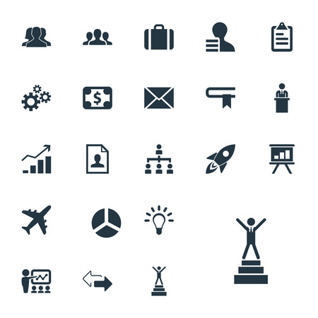 Vector Illustration Set Of Simple Plan Icons. Elements Correspondence, Currency, Rising Up And Other Synonyms Personal, Resume And Structure. 向量圖像