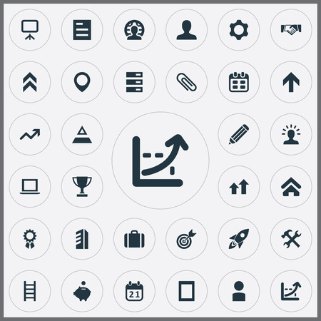 単純なチームワークのアイコンのベクトル イラスト セット。要素データベース、ポイント、メンバーや他類義語上向き、ラップトップとクライアン