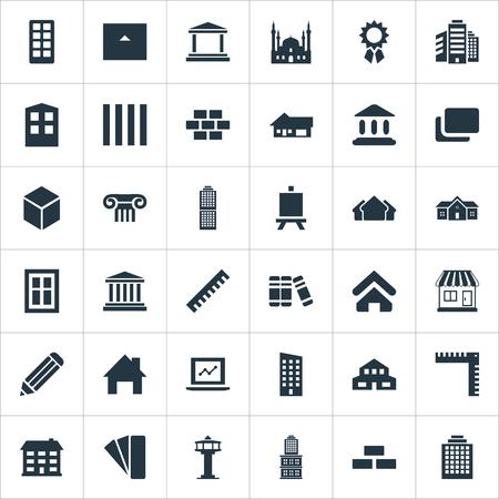 벡터 일러스트 레이 션 간단한 구조 아이콘의 집합입니다. 요소 이슬람 기념물, 건설, 거주 및 기타 동의어 블록, Multistorey 및 홈.