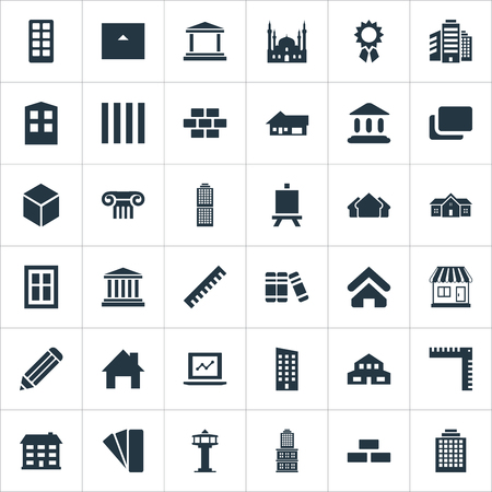 Vector Illustration Set Of Simple Structure Icons. Elements Islamic Monument, Construction, Residence And Other Synonyms Blocks, Multistorey And Home. Çizim