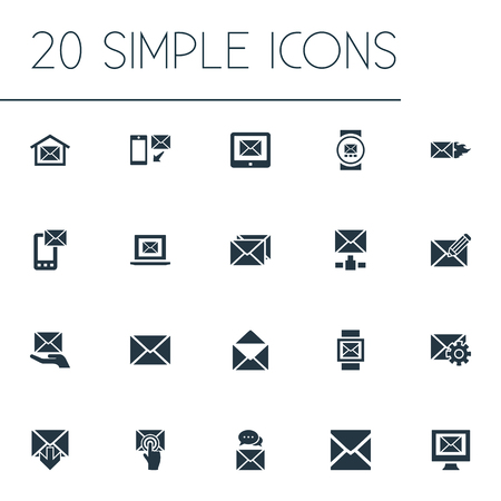Vector Illustration Set Of Simple Communication Icons. Elements Make Up, Letter, Sent And Other Synonyms Compose, Communication And Tuning.