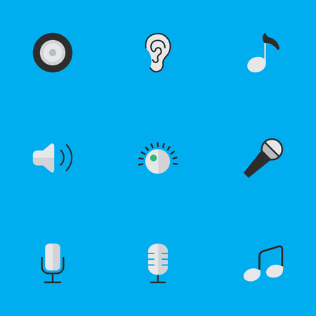 Vector Illustration Set Of Simple Sound Icons. Elements Microphone, Music Sign, Regulator And Other Synonyms Ear, Note And Music.