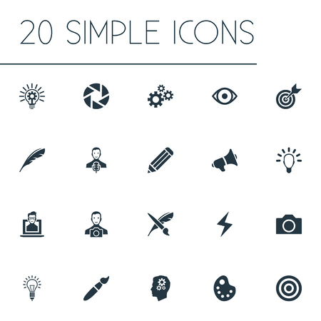 Vector Illustration Set Of Simple Visual Art Icons. Elements Drawing Tool, Target, Nerd And Other Synonyms Electricity, Gears And Investigation.