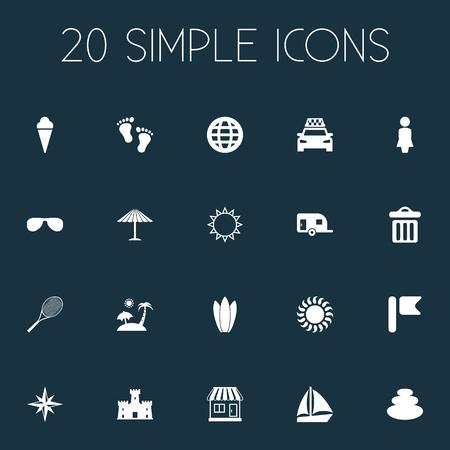 Illustrazione vettoriale Set di icone semplici mare. Elementi Sunrise, Balance, Caravan Camping e altri sinonimi Sand, Garbage and Pennant. Archivio Fotografico - 85165457