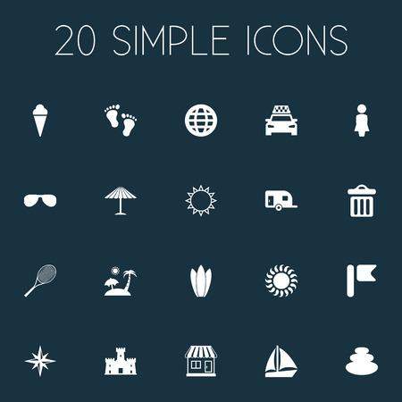 Vector Illustration Set Of Simple Seaside Icons. Elements Sunrise, Balance, Caravan Camping And Other Synonyms Sand, Garbage And Pennant.