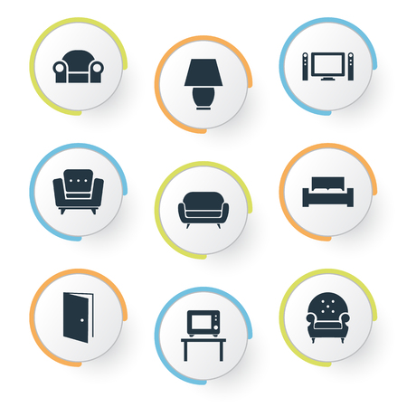 Vector Illustration Set Of Simple Furniture Icons. Elements Easychair, Entry, Flat-Screen And Other Synonyms Lounge, Furniture And Cinema.