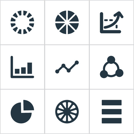 Vector Illustration Set Of Simple Chart Icons. Elements Progress, Line Bar, Pattern And Other Synonyms Cycle, Marketing And Relation. 向量圖像