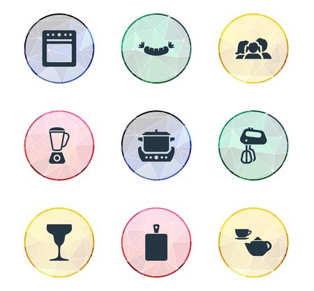 簡易キッチンのアイコンのベクトル イラスト セット。要素攪拌、コンロ、ソーセージ、他の同義語シチュー-鍋、まな板、アジテーター。