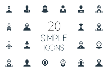 Vector Illustration Set Of Simple Member Icons. Elements Busy Employee, Job Man, Servant And Other Synonyms Boss, Father And Pin.