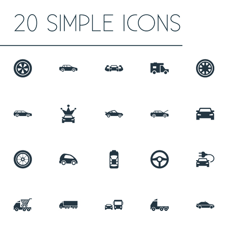 Vector Illustration Set Of Simple Automobile Icons. Elements Siren, Commerce, Camion And Other Synonyms Auto, Rotation And Traffic.
