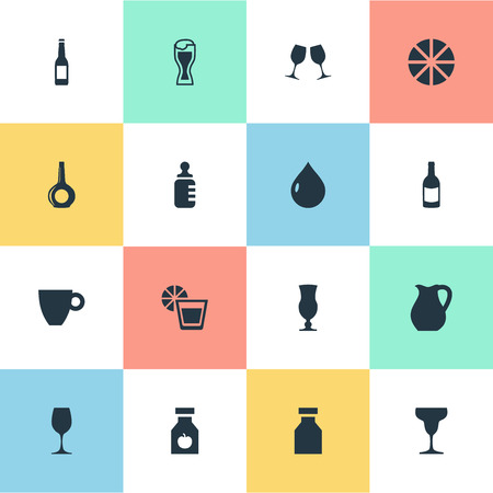 Vector Illustration Set Of Simple Drinks Icons. Elements Celebration, Lager, Alcoholism And Other Synonyms Mocha, Lemon And Beer.