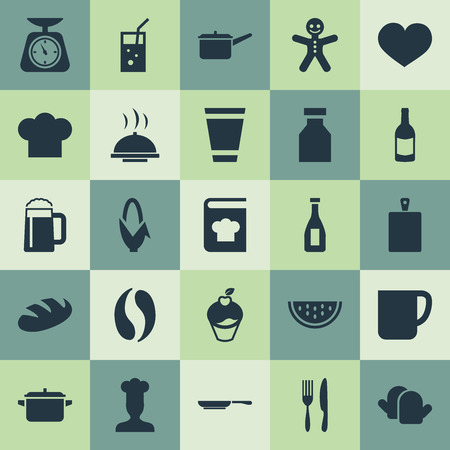 Vector Illustration Set Of Simple Cooking Icons. Elements Coffee, Balsamic Vinegar, Wine And Other Synonyms Love, Cup And Soda.