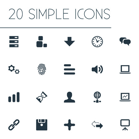 Vector Illustration Set Of Simple Practice Icons. Elements Contrast, Cogwheel, Scroll And Other Synonyms Chain, List And Diversity.