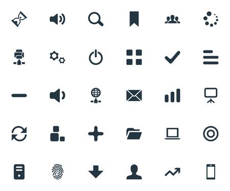 単純なアプリ アイコンのベクター イラスト セット。要素砂のタイマー、増加、拡大鏡類義語掲示板、キャンバス、サージします。