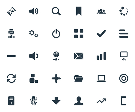 Vector Illustration Set Of Simple Apps Icons. Elements Sand Timer, Increase, Magnifier Synonyms Board, Canvas And Surge. 向量圖像
