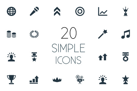 Vector Illustration Set Of Simple Prize Icons. Elements Miracle, Medal, Trophy And Other Synonyms World, Wand And Coins.