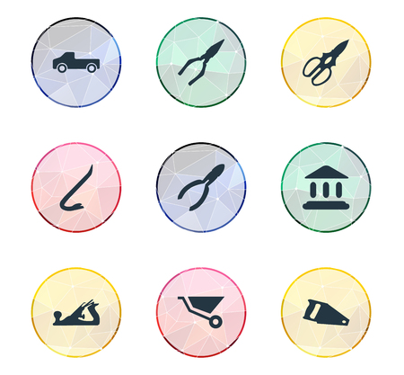 Vector Illustration Set Of Simple Industrial Icons. Elements Handsaw, Cart, Transportation Synonyms Transportation, Museum And Equipment.