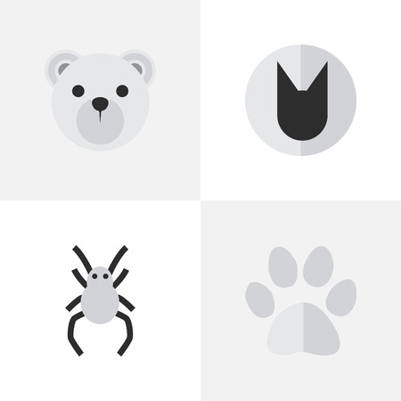 Vector Illustration Set Of Simple Wild Icons. Elements Panda , Foot , Tomcat Synonyms Paw, Cute And Animal.