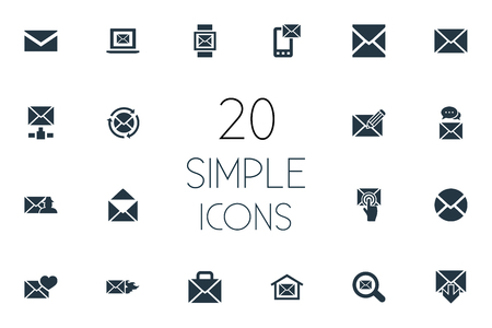 Vector Illustration Set Of Simple Message Icons. Elements Letter, Inbox, Specter And Other Synonyms Communication, Valentine And Open.