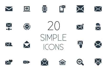 Vector illustratie Set van eenvoudige bericht iconen. Elements Letter, Inbox, Spectre And Other Synoniemen Communication, Valentine and Open. Stock Illustratie